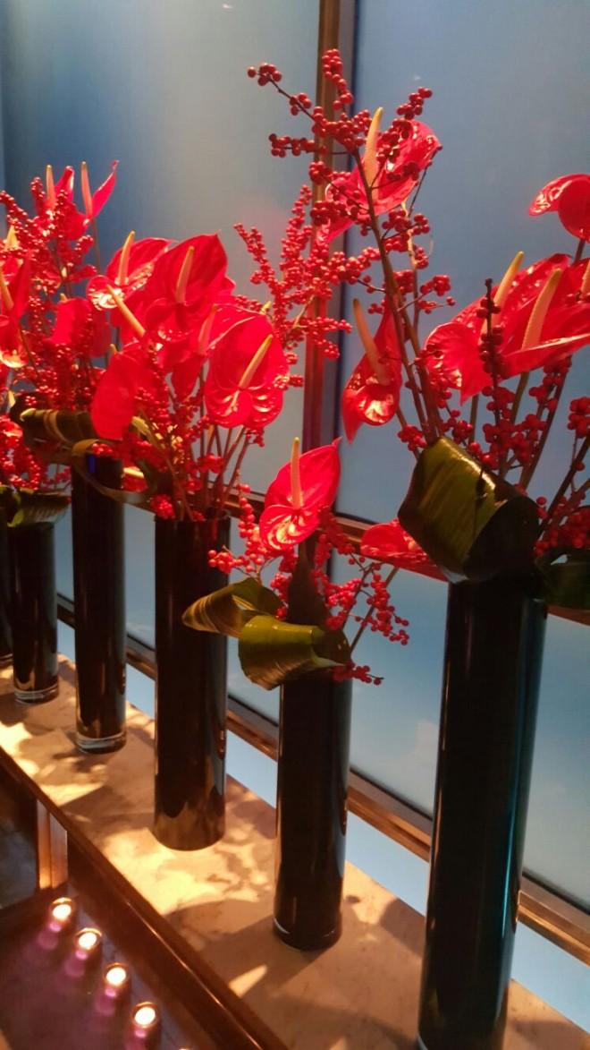 סידורי פרחים במסעדת Hakkasan