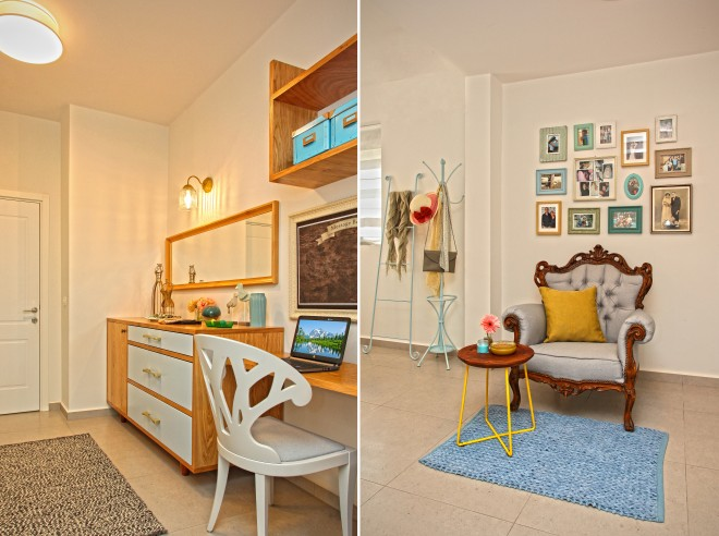 הכורסא מהסלון הישן שופצה והפכה למוקד פינת הקריאה בחדר ההורים